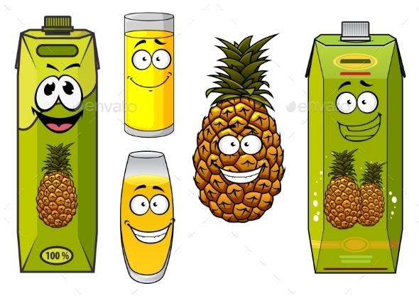 Pineapple Fruit and Juices - Food Objects