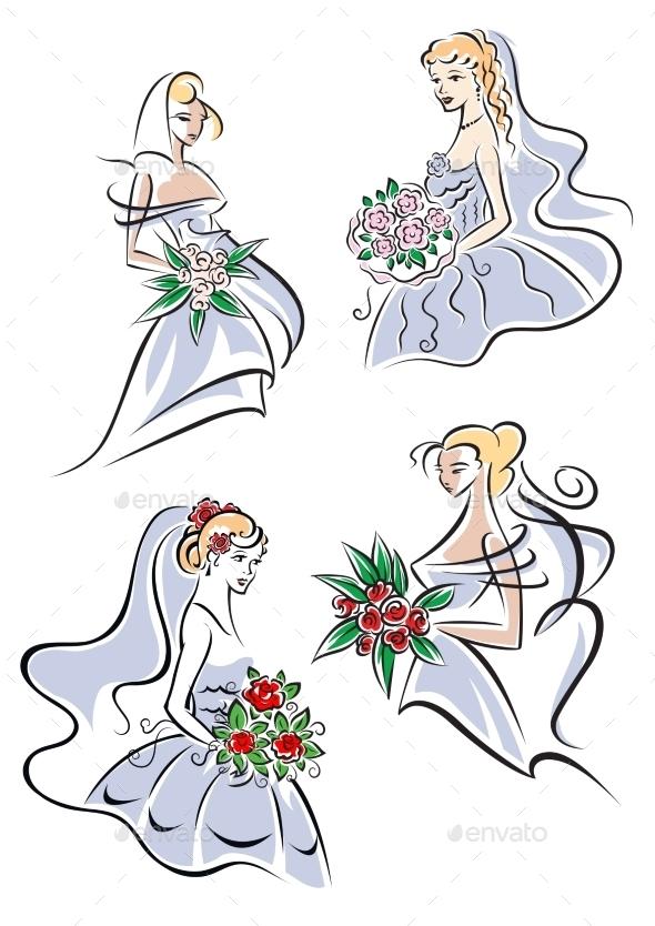 Bride in Gown holding Flowers - Weddings Seasons/Holidays