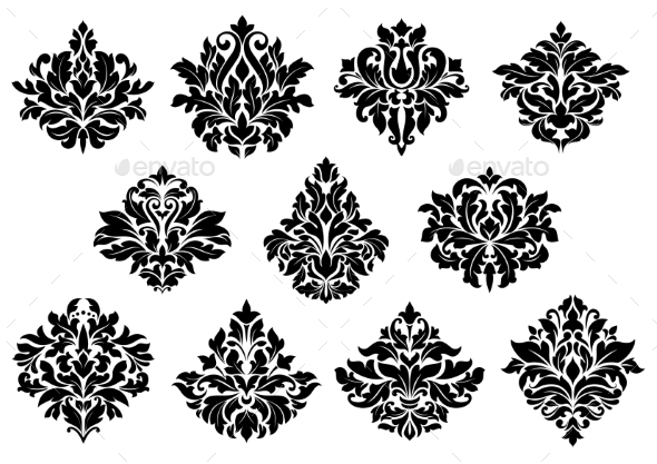 Damask Floral Design Elements - Flourishes / Swirls Decorative