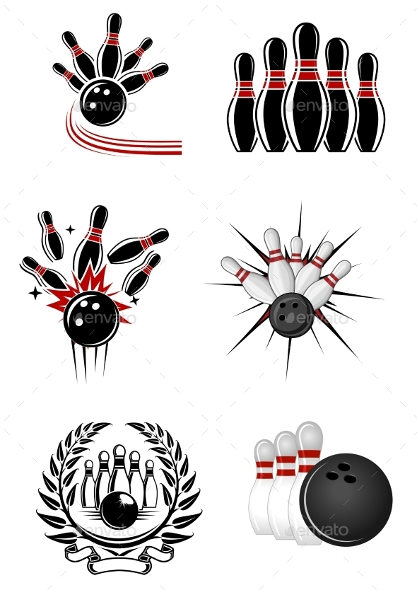 Bowling Sports Emblems and Symbols - Sports/Activity Conceptual