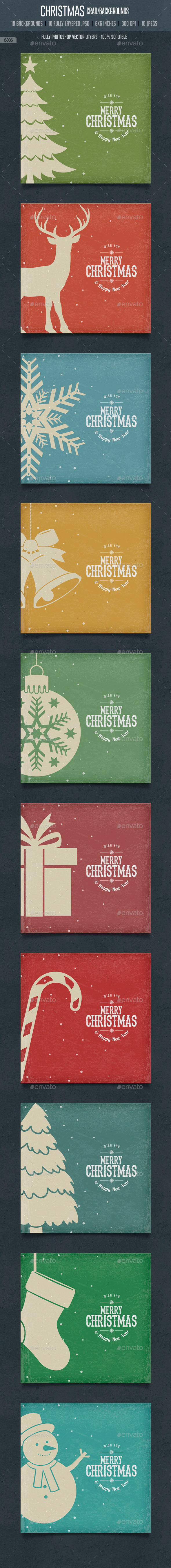 Vintage Christmas Square Cards / Backgrounds - Backgrounds Graphics