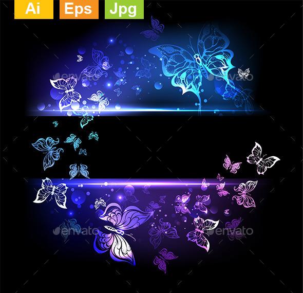 Glowing Butterflies - Decorative Vectors
