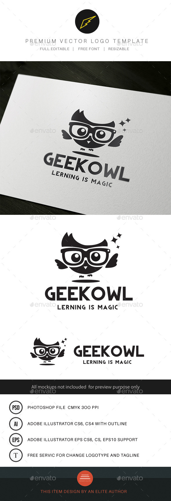 Geek Owl - Animals Logo Templates