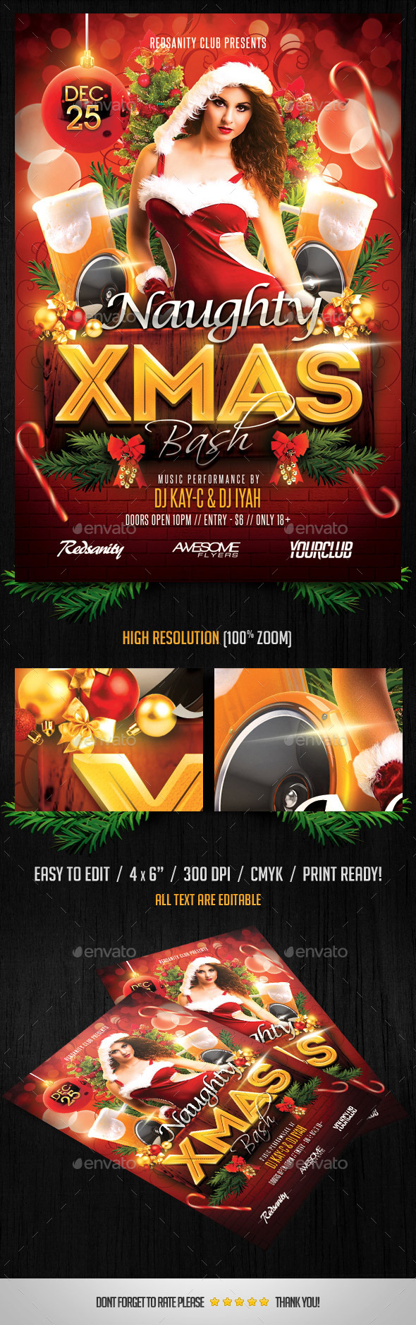 Naughty Xmas Bash Flyer - Holidays Events