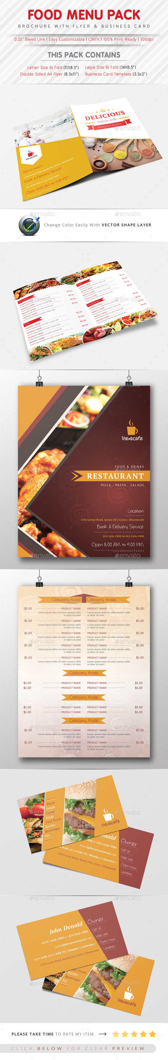 Food Menu Pack Template - Food Menus Print Templates