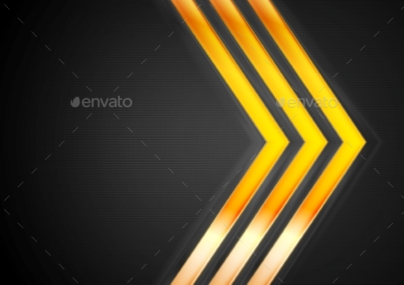 Orange Glowing Arrows on Black Background - Backgrounds Decorative