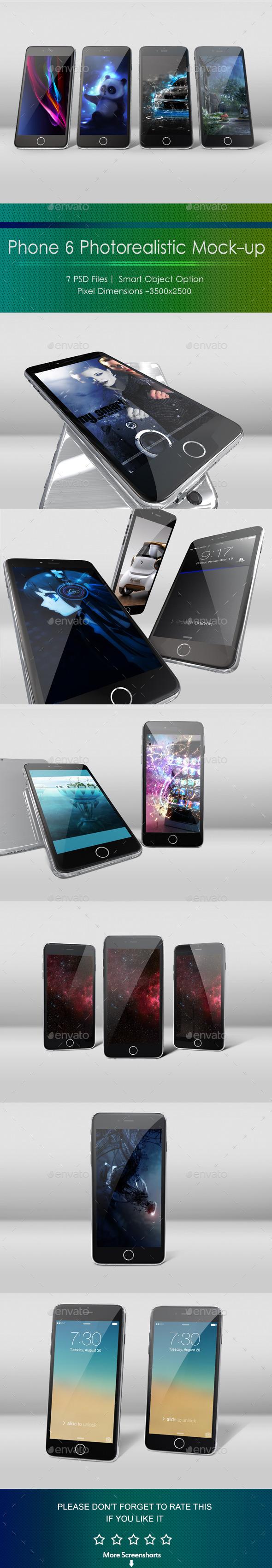 Phone 6 Photorealistic Mockup - Mobile Displays