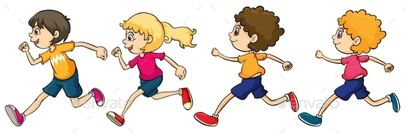 Boys and Girl Running - People Characters