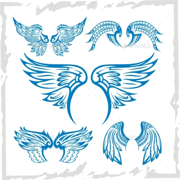 Wings Set Vinyl-Ready Illustration - Tattoos Vectors