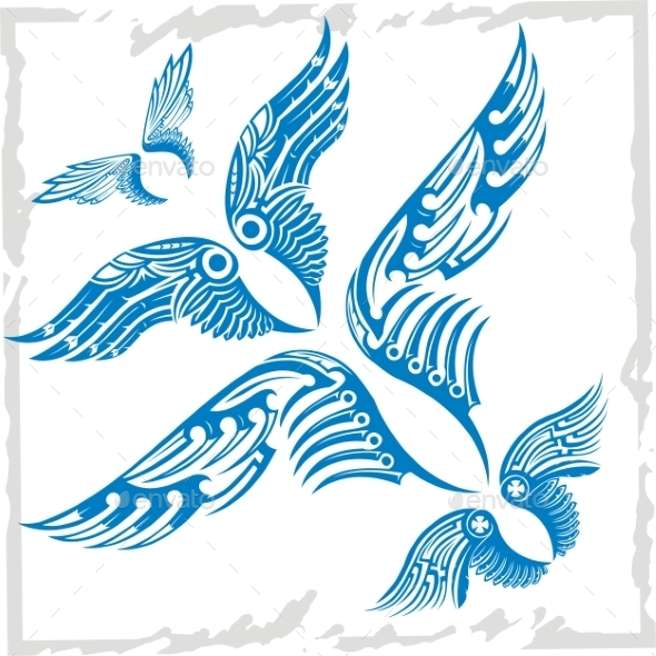 Vector Wings Set - Tattoos Vectors