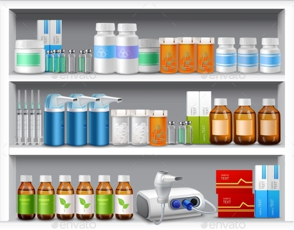 Pharmacy Shelves - Health/Medicine Conceptual