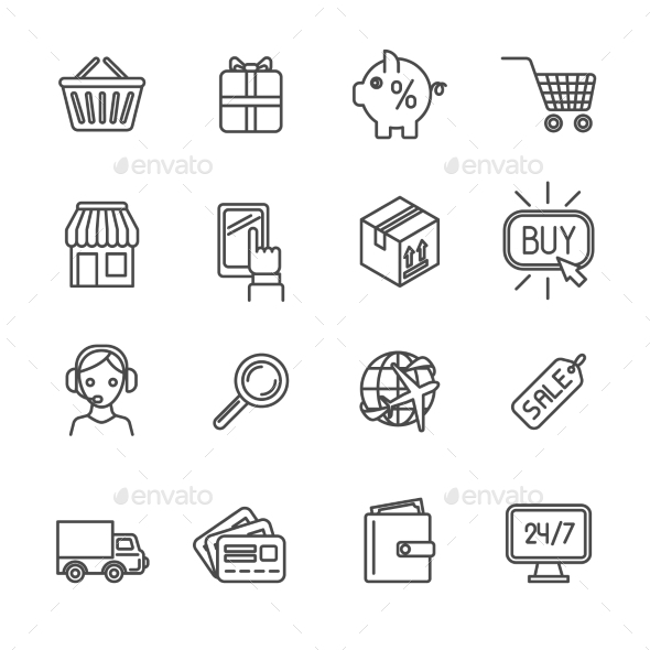 Shopping e-commerce icons set flat outline - Business Icons