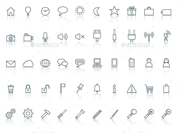 Fifty icons. Simple line with reflection - Miscellaneous Icons