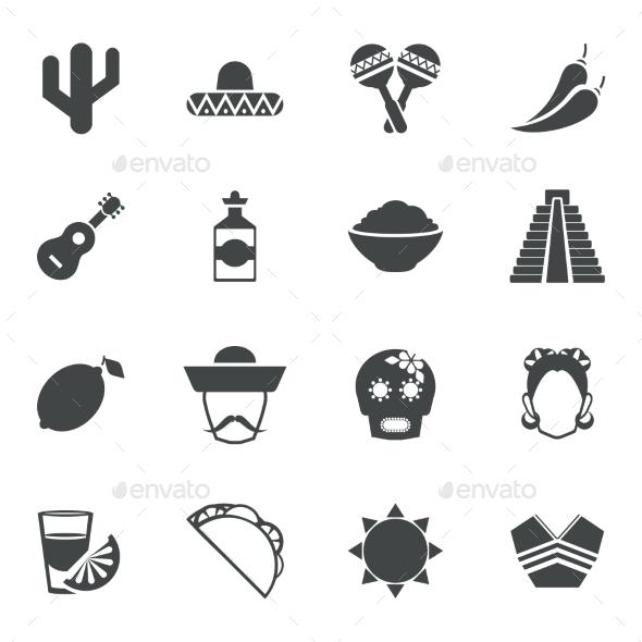 Mexico black icons set - Web Icons