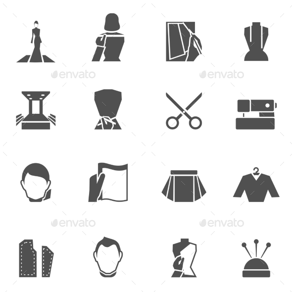 Clothes designer icons black - Objects Icons