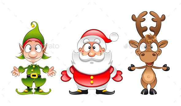 Santa Claus, Elf and Reindeer - Christmas Seasons/Holidays