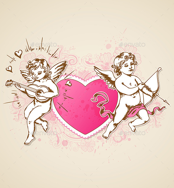 Pink Heart and Cupids - Valentines Seasons/Holidays