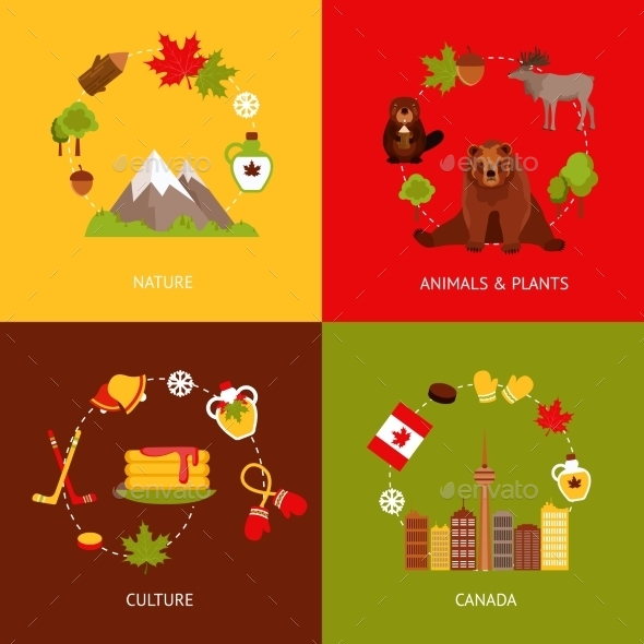 Canada Flat Icons Set - Travel Conceptual