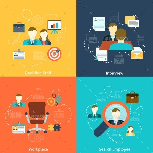 Human Resources Flat Icons Composition - Concepts Business