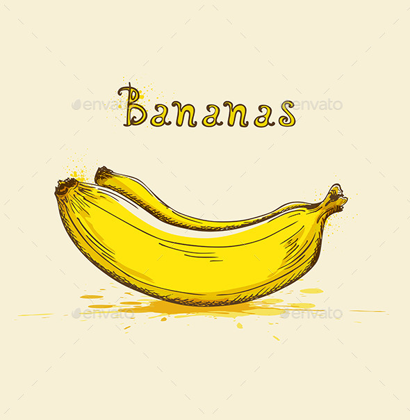 Yellow Ripe Bananas - Food Objects