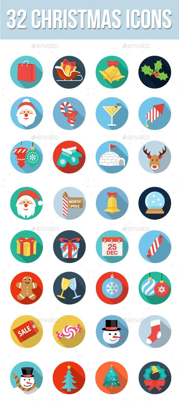 32 Christmas Icons - Seasonal Icons