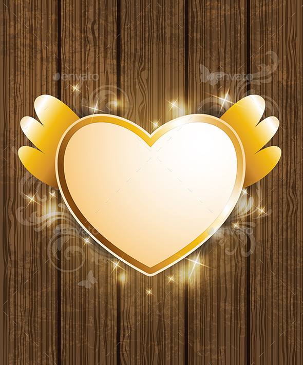 Golden Heart for Valentine's Day - Valentines Seasons/Holidays