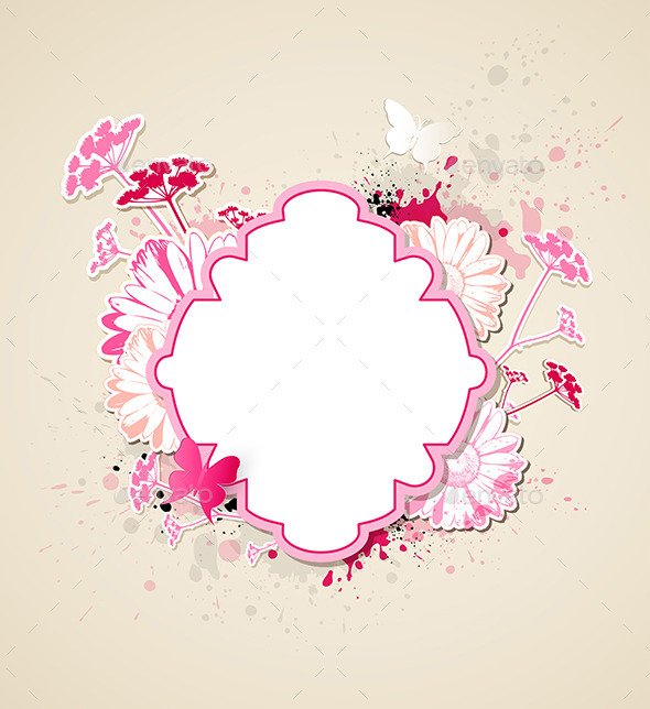 Label with Pink Flowers and Butterflies - Backgrounds Decorative