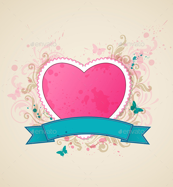 Background with Pink Heart - Valentines Seasons/Holidays