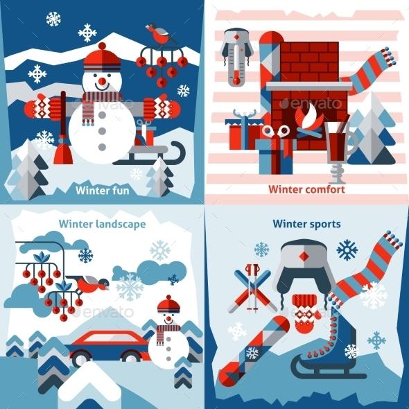 Winter Flat Icons Set - Seasons/Holidays Conceptual