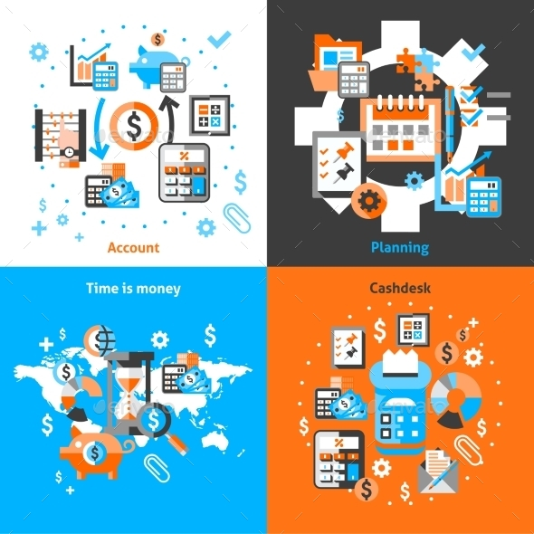 Accounting Icons Set Flat - Business Conceptual
