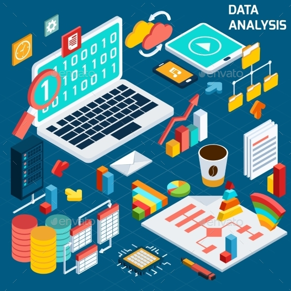 Data Analysis Isometric - Computers Technology