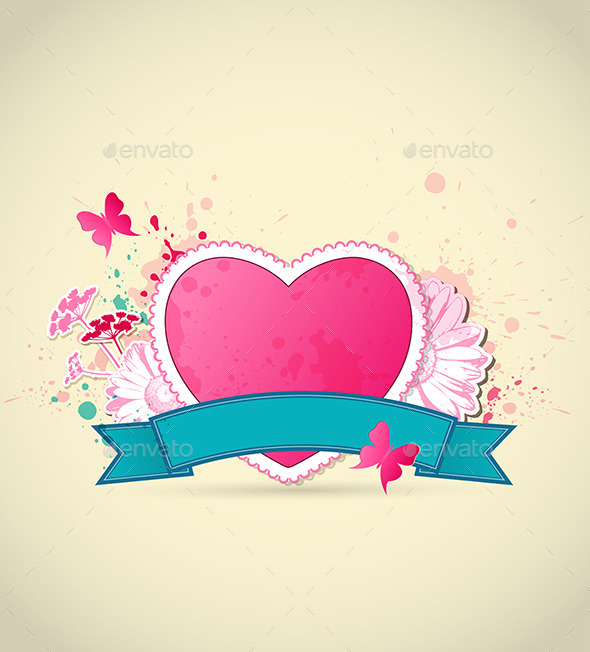Pink Heart and Flowers for Valentine's Day - Valentines Seasons/Holidays