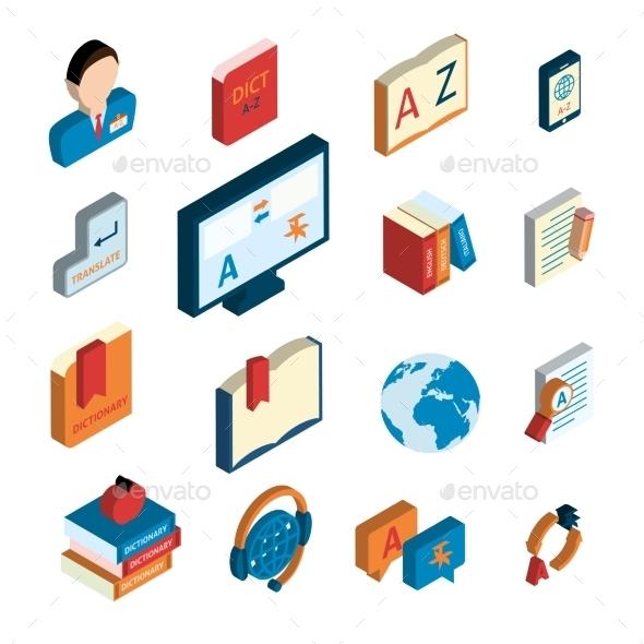 Translation and Dictionary Icons Set - Web Technology