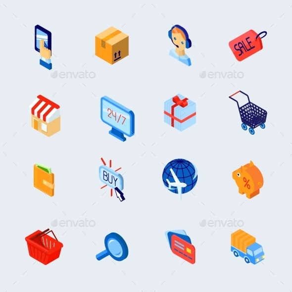 Shopping E-Commerce Icons Set Isometric - Concepts Business