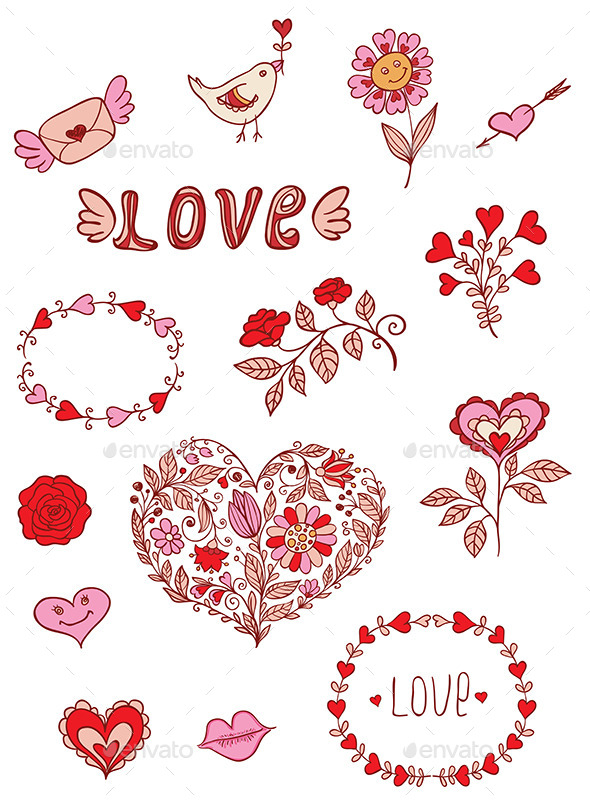 Romantic Doodle Elements - Valentines Seasons/Holidays