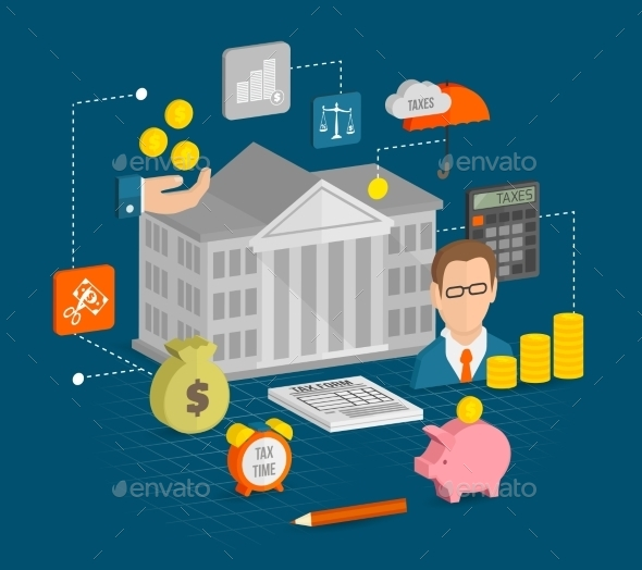 Tax Icons Isometric - Business Conceptual