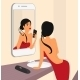 Selfie of Brunette Sensual Woman in Mirror  - GraphicRiver Item for Sale