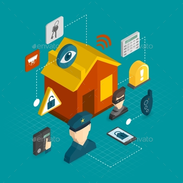 Home Security Isometric Icons - Technology Conceptual