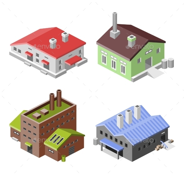 Industrial Buildings Isometric - Buildings Objects