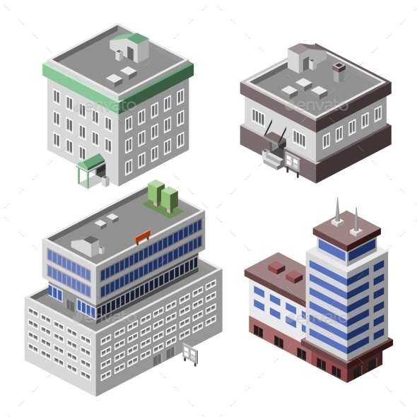 Office Buildings Isometric - Buildings Objects