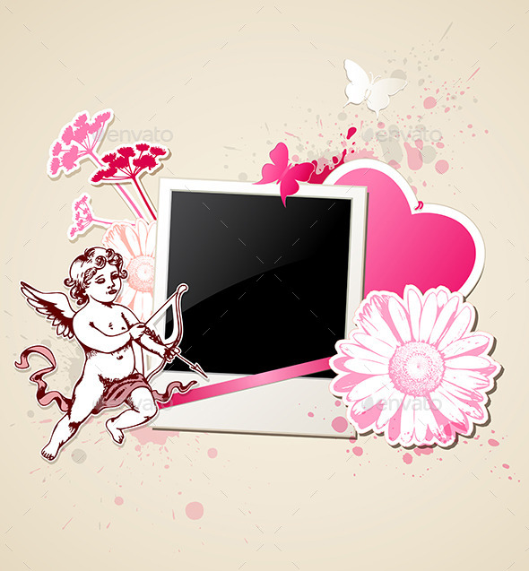 Background with Photo and Cupid - Valentines Seasons/Holidays