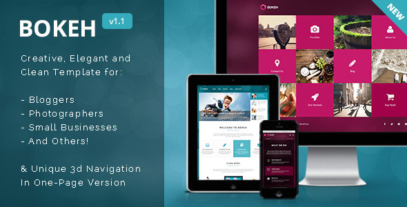 Bokeh HTML Template for Blog, Portfolio & Business