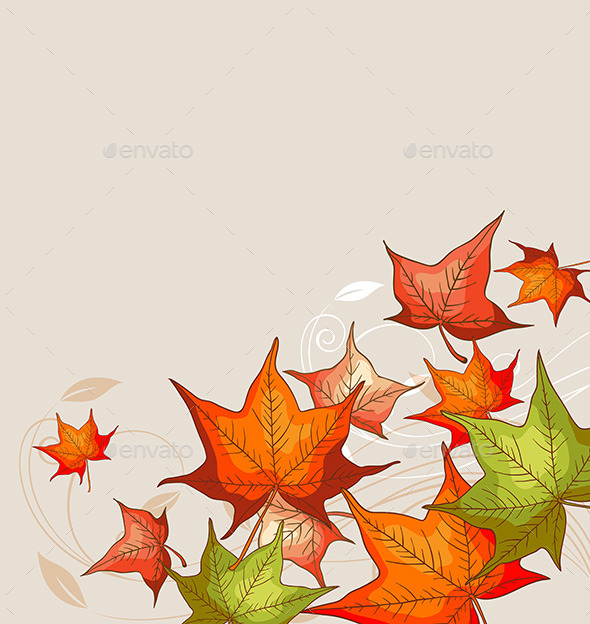 Background with Red Maple Leaves - Seasons Nature