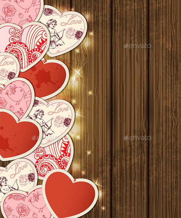 Background with Hearts for Valentine's Day - Valentines Seasons/Holidays