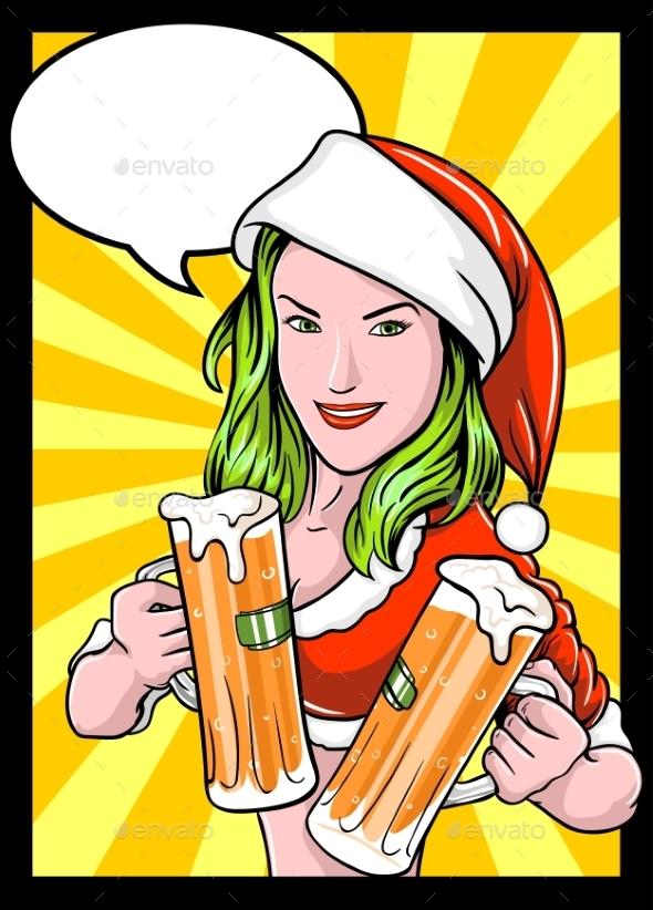 Christmas Beer Girl Comics - New Year Seasons/Holidays