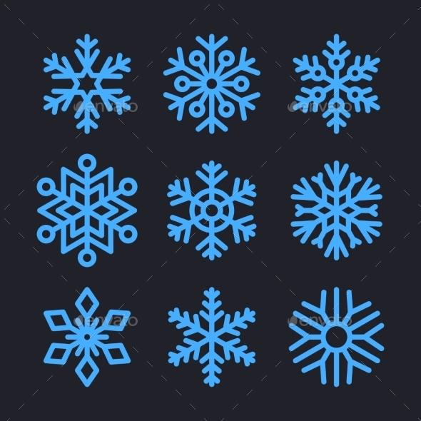 Snowflakes Set for Christmas Winter Design - Christmas Seasons/Holidays