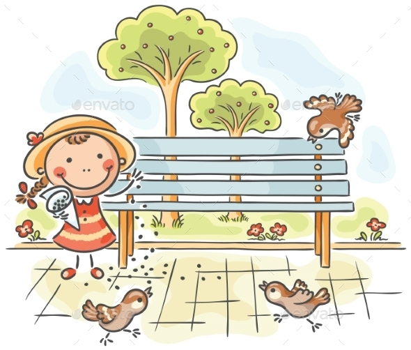 Girl feeding Sparrows in the Park - People Characters