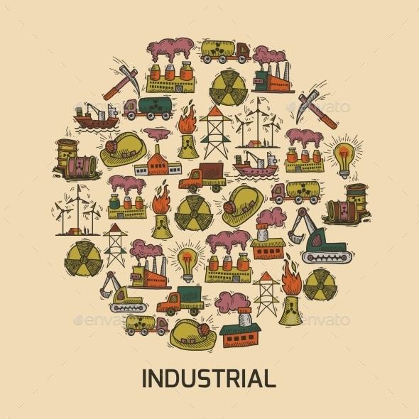 Industrial Sketch Set - Web Elements Vectors