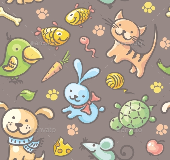 Pattern with Pets and their Food - Patterns Decorative