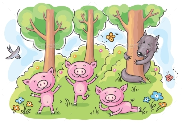 Three Little Pigs Fairy Tale - Animals Characters